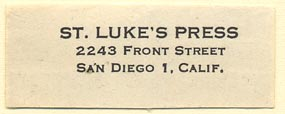 St. Luke's Press, San Diego, California (45mm x 17mm). Courtesy of Donald Francis.