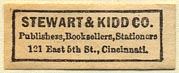 Stewart & Kidd Co., Publishers, Booksellers, Stationers, Cincinnati, Ohio (29mm x 11mm). Courtesy of Donald Francis.