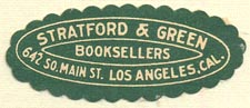 Stratford & Green, Booksellers, Los Angeles, CA (37mm x 15mm). Courtesy of Donald Francis.