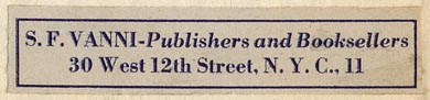 S.F. Vanni, Publishers and Booksellers, 30 West 12th Street, New York (64mm x 13mm, ca.1951).