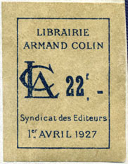Librairie Armand Colin, Paris, France (30mm x 38mm, c.1928). Courtesy of Robert Behra.
